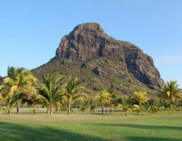 Le Morne Brabant mountain view from the golf course at Le Paradis